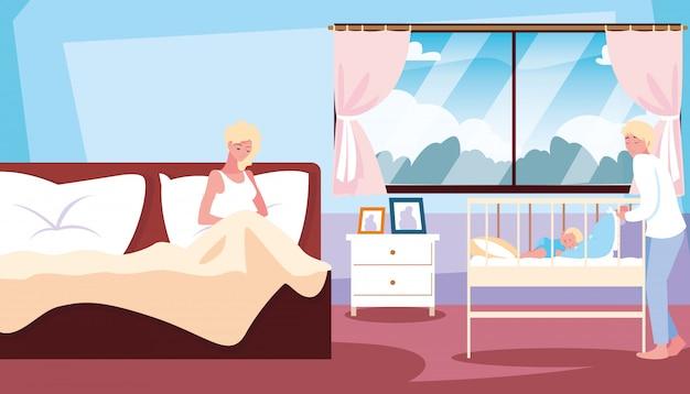 Mãe na cama e bebê no berço com o pai no quarto