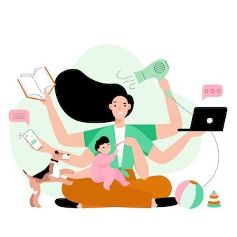 Mãe ocupada fazendo muito trabalho em casa.