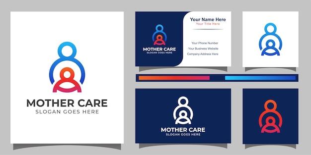 Mãe ou pai cuidados com o logotipo de estilo de arte de linha filho e modelo de design de cartão de visita