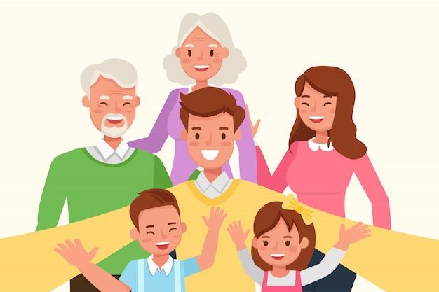 Mãe, pai, avós e filhos juntos.