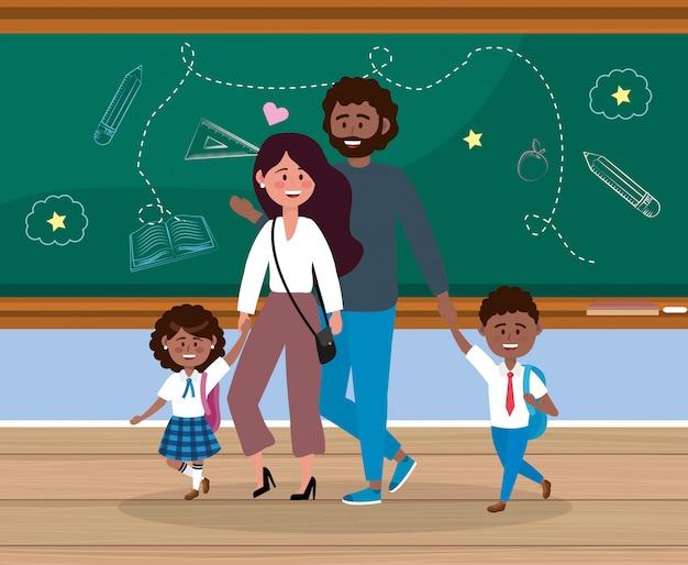 Mãe pai, com, seu, menina, e, menino, estudantes, em, a, sala aula