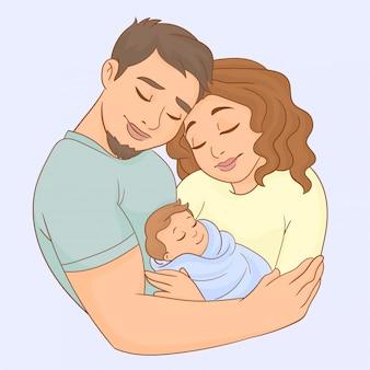 Mãe, pai e bebê recém-nascido