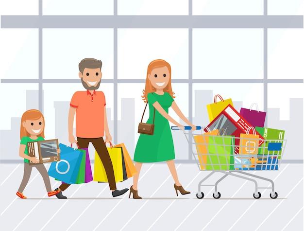 Mãe, pai e filha às compras juntos