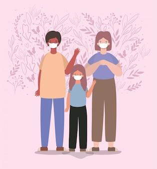 Mãe pai e filha com máscaras e folhas de design
