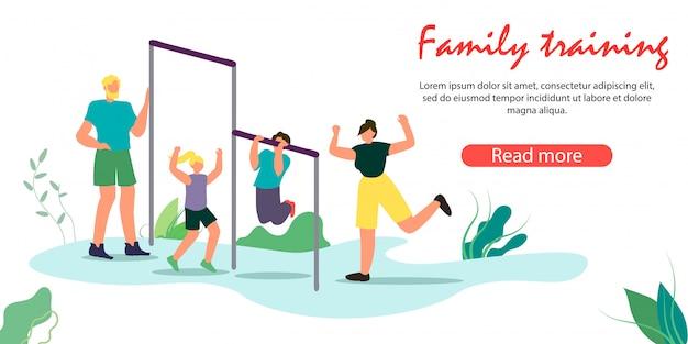 Mãe, pai e filhos manhã exercitando