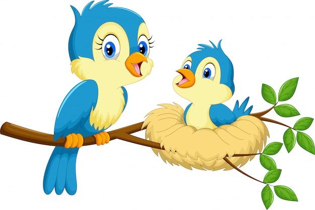 Mãe pássaro com bebês