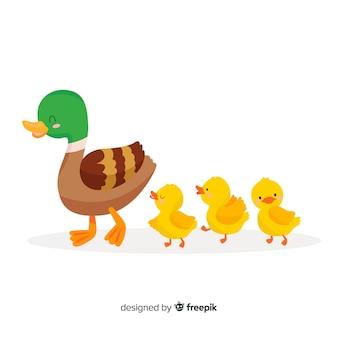 Mãe pato e seus patinhos a passar tempo juntos