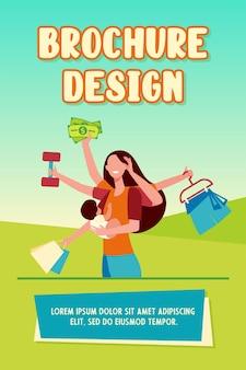Mãe praticando multitarefa. ilustração em vetor plana mulher segurando um bebê, carregando sacolas de compras e levantando peso