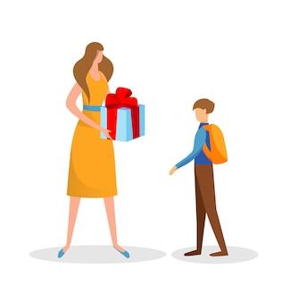 Mãe preparada presente surpresa para o filho. aniversário.