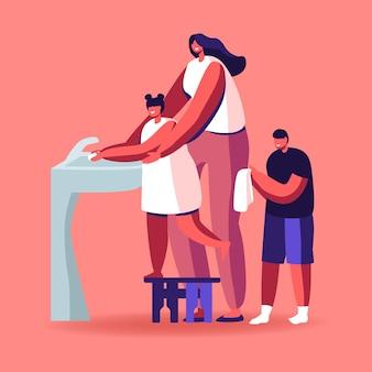 Mãe que ensina as crianças a lavar as mãos corretamente.