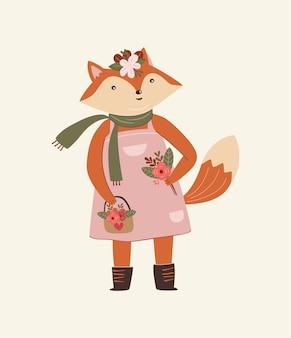 Mãe raposa fofa com ilustração de flores