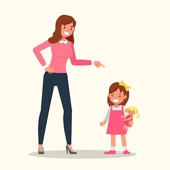 Mãe repreende a filha isolada no branco
