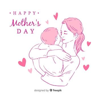 Mãe, segurando, bebê, dia mãe, fundo