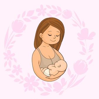 Mãe segurando bebê recém-nascido em seus braços