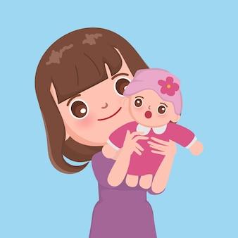 Mãe segurando com personagem de bebê.