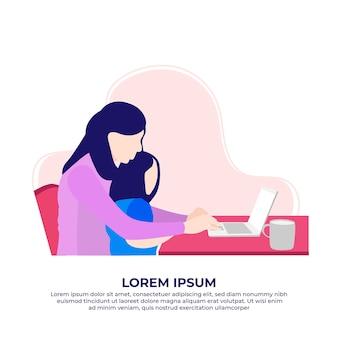Mãe segurando criança usando laptop trabalhando em casa