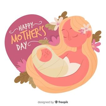 Mãe, segurando, dela, bebê, dia mãe, fundo