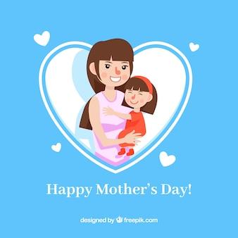 Mãe, segurando, dela, filha, mãe, dia, fundo