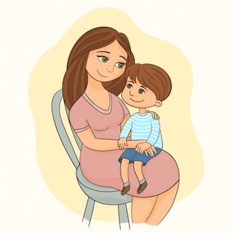 Mãe, segurando, filho, ligado, dela, pernas