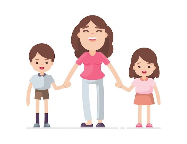 Mãe, segurando, mão, filho, e, filha