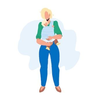 Mãe segurando o bebê nas mãos, vetor de maternidade. jovem mãe mãe segurar com amor criança recém-nascida lindo infante, maternidade e infância. personagens lady parent and kid flat cartoon ilustração