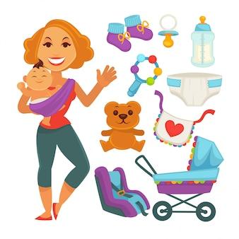 Mãe segurando o bebê perto de coisas recém-nascido em branco