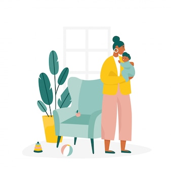 Mãe, segurando seu filho. ilustração plana