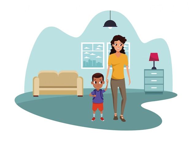Mãe solteira de família com criança