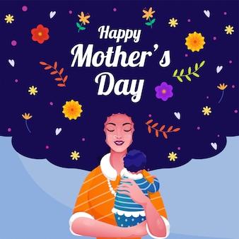 Mãe sorridente abraçando um bebê com flores e folhas decoradas