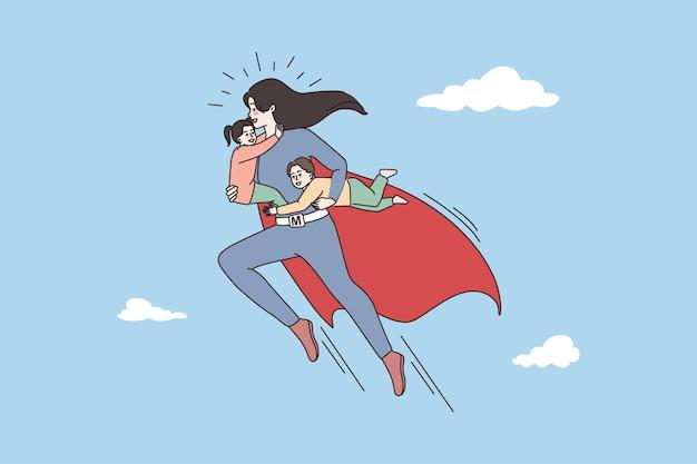 Mãe super-heroína com crianças fazem rotina diária