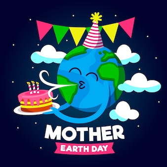 Mãe terra dia feliz aniversário planeta