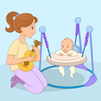 Mãe tocando música para bebê em andador infantil