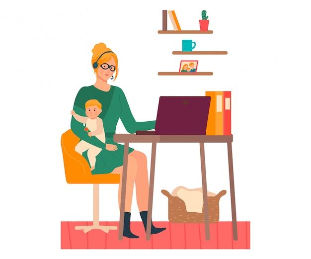 Mãe trabalha de ilustração em casa, cartoon personagem de mulher jovem e bonita com o garoto nas mãos, freelance em branco