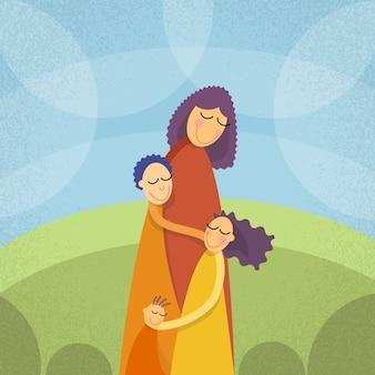 Mãe, três crianças, meninos, menina, abraçar, ao ar livre