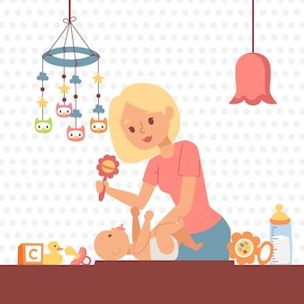 Mãe, trocando a fralda do bebê
