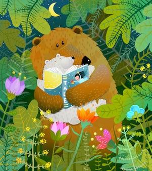 Mãe urso lendo livro para filhote de bebê na floresta