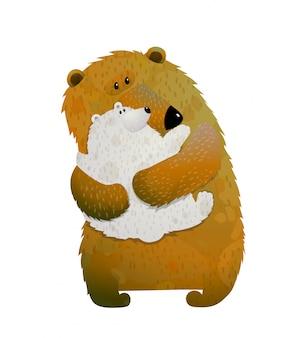 Mãe urso segurando filho filhote