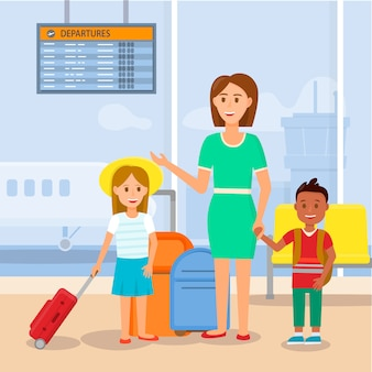 Mãe viajando com filhinha e filho.