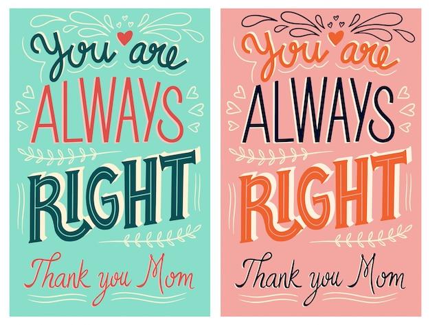 Mãe, você está sempre certo - cartão