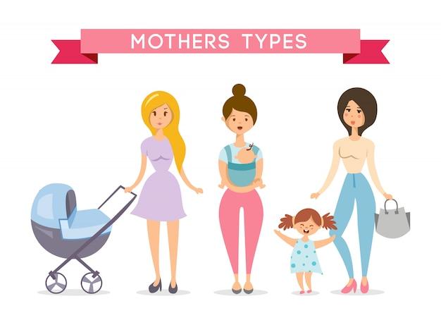 Mães com bebês. amor de mãe