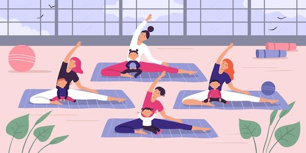 Mães com grupo de ioga de crianças.
