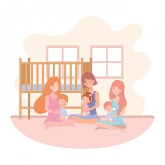 Mães de gravidez bonito sentado levantando bebês no quarto