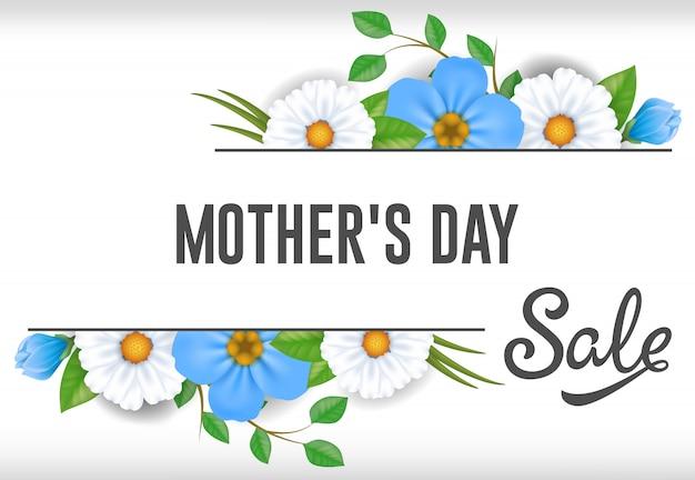 Mães dia venda rotulação com flores azuis e brancas. propaganda da venda do dia de mães.
