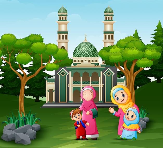 Mães dos desenhos animados e crianças na frente da mesquita