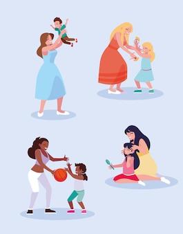 Mães e crianças brincando