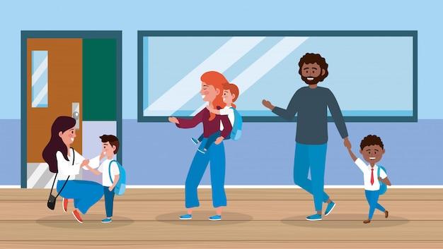 Mães e pai com seus filhos e menina na sala de aula
