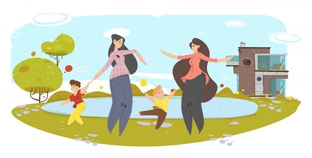 Mães felizes com crianças se divertindo no quintal