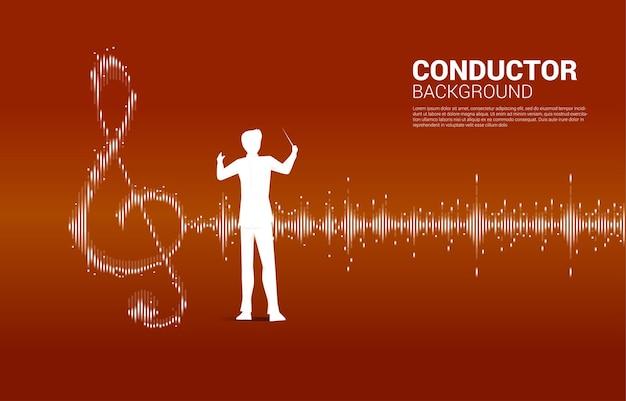 Maestro com música e conceito de tecnologia de som. onda equalizador como nota musical