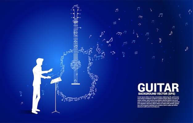 Maestro e música melodia nota dança fluxo ícone de guitarra de forma. fundo do conceito para o tema do concerto de música e guitarra.