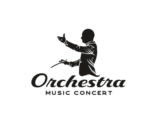 Maestro logotipo homem silhueta com stick logo design musical arranged mascote logo